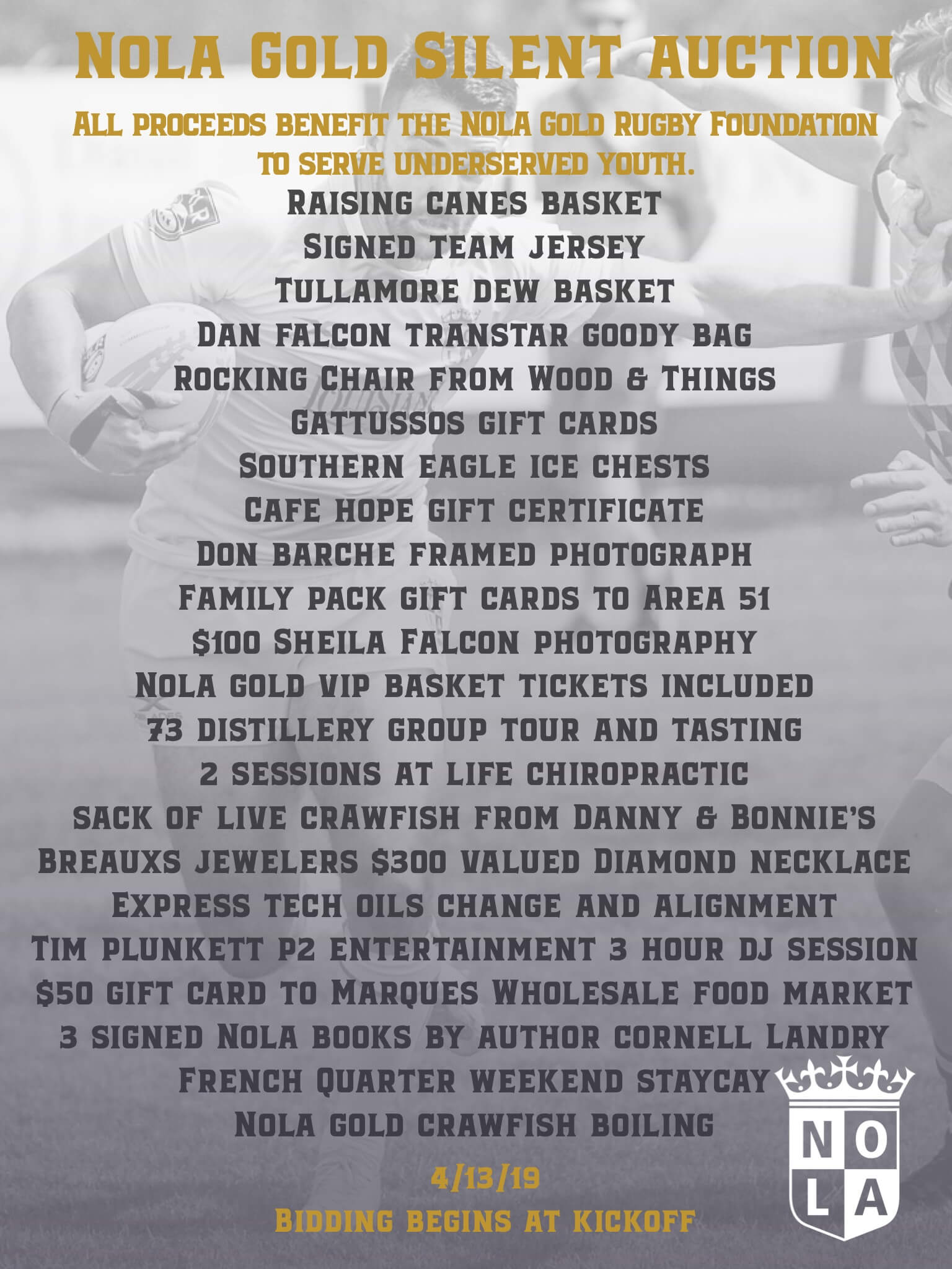 NOLA Gold Rugby Foundation Silent Auction