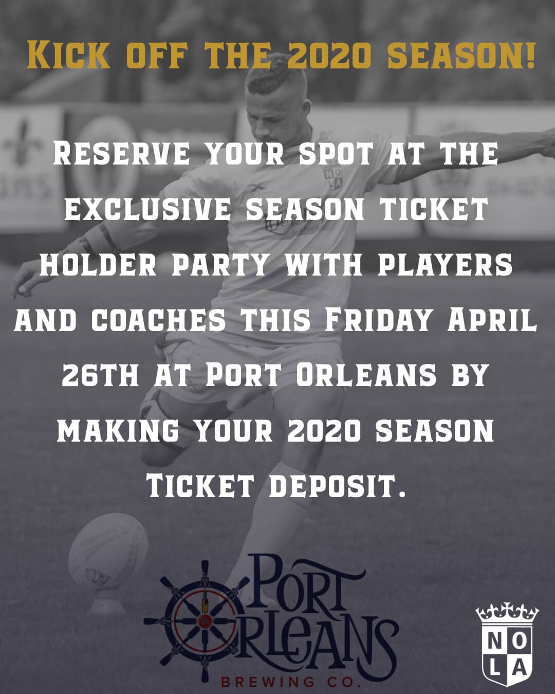 Season Ticket Holder Party at Port Orleans Brewing Co. this Friday!